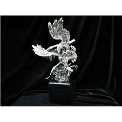Original Real Silver Eagle Sculpture by De Lier- Survival