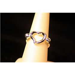 Lady's Stylish Sterling Silver  Heart  Design Tiffany Ring
