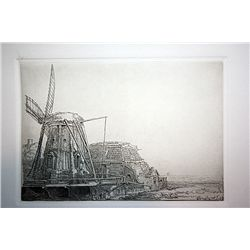 Rembrandt Etching - The Windmill - Printed by A.Durand