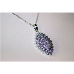 Lady's Very Fancy 14 kt White Gold  Unique  Tanzanite Necklace
