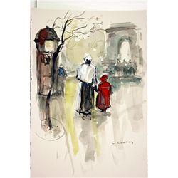 After E. Cortes  Original Watercolor on Paper - Nanny