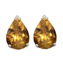 Natural 2.10 ctw Citrine Pear Earrings .925 Sterling