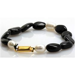 Natural Big Black Tourmaline and Pearl Beads Bracelet
