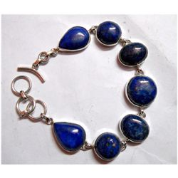 Natural 28.67 g Lapis Mix .925 Sterling Silver Bracelet