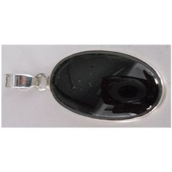Natural 29.35 ctw Black Onex Oval Pendant .925 Sterling