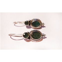 Natural 25.20 ctw Emerald Oval Earrings .925 Sterling