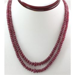 Natural Ruby Round  Beads  238.36 CTS. Necklace w/brass