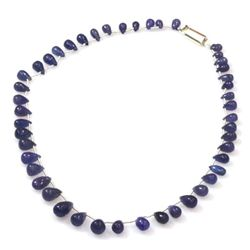Natural Tanzanite Teardrop Beads Necklace 107.40 ctw
