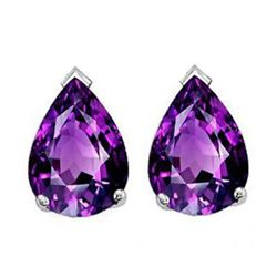 Natural 2.10 ctw Amethyst Pear Earrings .925 Sterling