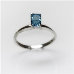 Natural 3.55 ctw Blue Topaz Emerald .925 Sterling Ring
