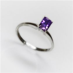 Natural 4.25 ctw Amethyst Emerald .925 Sterling Ring