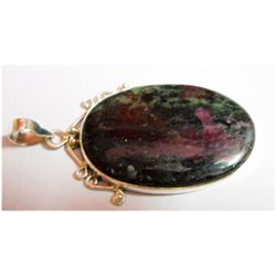 Natural Semi Precious Oval .925 Sterling Silver Pendant