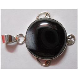 Natural 5.61g Black Onex Round .925 Sterling Pendant