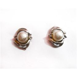 Natural 19.80 ctw Pearl Oval Earrings .925 Sterling