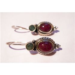 Natural 27.00Ctw Ruby Cabushion Earrings .925 Sterling
