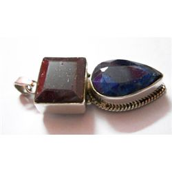 Natural 54.80 ctw Ruby/Sapphire Pendant .925 Sterling