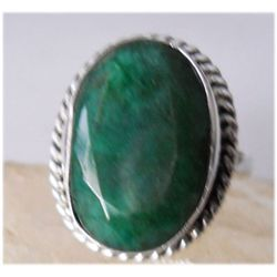 Natural 31.75 ctw Emerald Oval Ring .925 Sterling