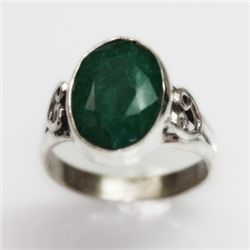 NATURAL 4.01 GRAMS EMERALD OVAL RING .925 STERLING SILV