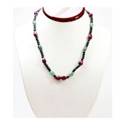 Natural 157.08 ctw Emerald Ruby Sapphire Bead Necklace