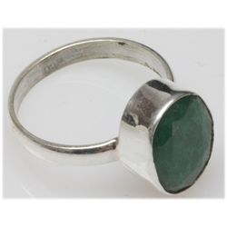 Natural 4.09 g Emerald Oval .925 Sterling Silver Ring
