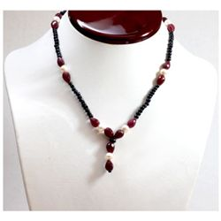 Natural  116.24 ctw Dark Sapphire Ruby Pearl Necklace