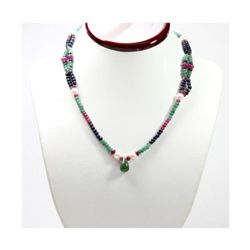 Natural 126.52 ctw Emerald Ruby Sapphire Pearl Necklace