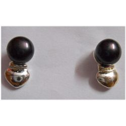 Natural 13.75 ctw Pearl Round Earrings .925 Sterling