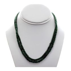 Natural Emerald Round  Beads 127.77 CTS. Necklace w/bra