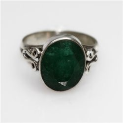 NATURAL 3.83 GRAMS EMERALD OVAL RING .925 STERLING SILV