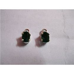 Natural 3 ctw Emerald .925 Sterling Earrings