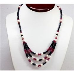 Natural  230.08 ctw Ruby, Sapphire Pearl Bead Necklace