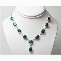 Natural 25.11g Emerald Necklace .925 Sterling Silver
