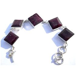 Natural 222.35 ctw Ruby Square .925 Sterling Bracelet