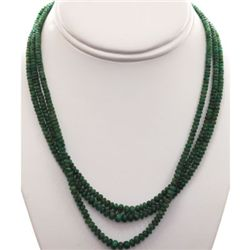 Natural Emerald Round 179.18 CTS. Beads Necklace w/bras