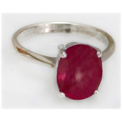 Natural 5.5 ctw Ruby Oval .925 Sterling Silver Ring