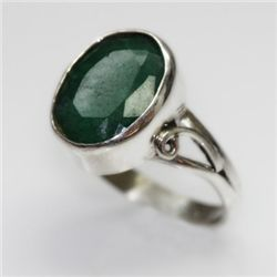 NATURAL 4.08 GRAMS EMERALD OVAL RING .925 STERLING SILV