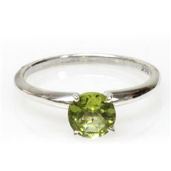 Natural 2.25ctw Peridot Round .925 Sterling Silver Ring