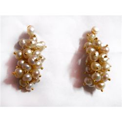 Natural 57.00 ct Pearl Earrings .925 Sterling w/ Bronze