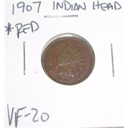 1907 Indian Head Penny *RARE RED VERY FINE-20 GRADE*!!