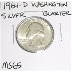 1964-D SILVER Washington Quarter *RARE MS-65 HIGH GRADE*!!
