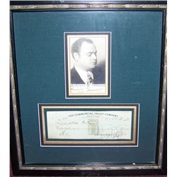 Beniamino Gigli Signed Check and Picture. Custom Framed