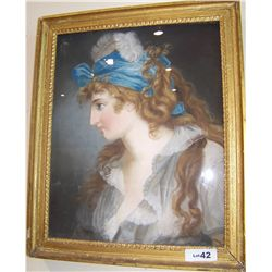 Antique Pastel on paper  Portrait of a Beautiful Woman w/ Plumed Hat  Framed