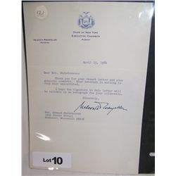 NELSON A. ROCKEFELLER SIGNED LETTER April 13, 1964.