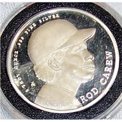 .999 1 OZ  SILVER ROD CAREW COMMEMORATIVE COIN.
