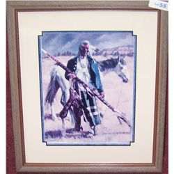 """Indian With Blue Jacket and Peace Pipe"" by Susan Terpning."