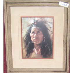 """Blood Man"" by Howard Terpning. Signed."