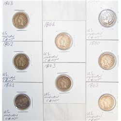 (8X$) EARLY U.S INDIAN CENTS. 1860-1863.