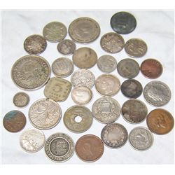 FOREIGN COINS. SOME SILVER. VARIOUS DATES- EARLY 1900'S.