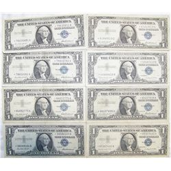 "(8X$) $1 SILVER CERTIFICATES ALL ""STAR NOTES"" SERIES 1957."