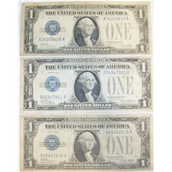 "(3X$) ""FUNNY BACK"" $1 U.S SILVER CERTIFICATES."